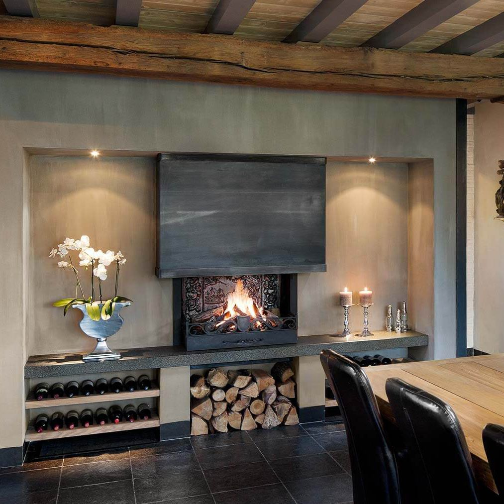 木质壁炉 / 现代风格 / 炉膛开放式 / 嵌入式图片
