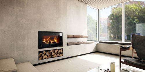 嵌入式木壁炉图片