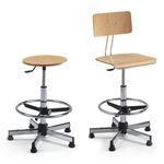 金属工作凳 / 山毛榉木 / 高度可调节 / 带脚凳