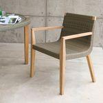 现代风格访客扶手椅 / 柚木 / 白色 / 户外