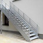 直线型楼梯 / 金属 / 金属台阶 / 无踢脚板