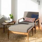 传统风格扶手椅 / 布料 / 实木 / 带扶手