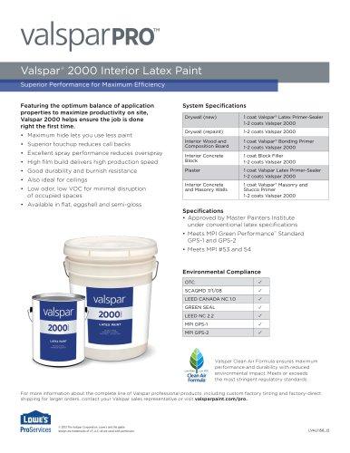 Valspar ®  2000 Interior Latex Paint
