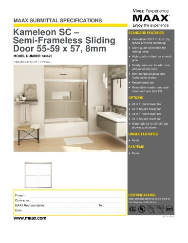 Kameleon SC ? Semi-Frameless Sliding Door 55-59 x 57, 8mm