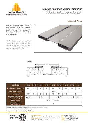 Seismic vertical expansion joint - JDV 4.02
