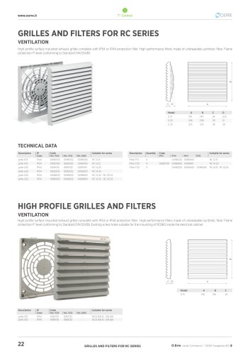 GRILLES AND FILTERS FOR RC SERIES