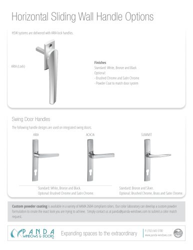 Horizontal Sliding Wall Handle Options
