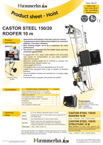 CASTOR STEEL 150/20 ROOFER 10 m