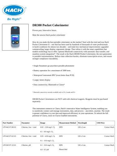 DR300 Pocket Colorimeter