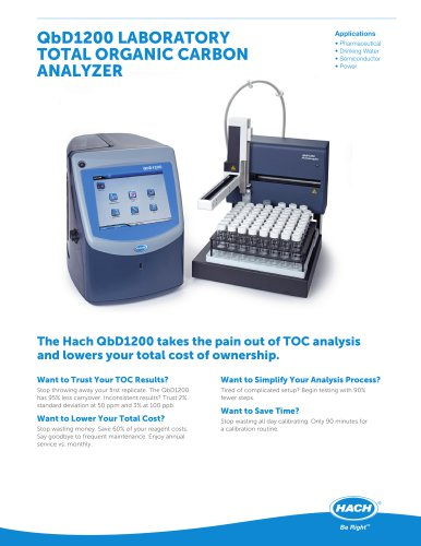 QbD1200 LABORATORY TOTAL ORGANIC CARBON ANALYZER