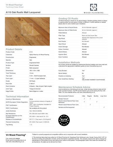 A110 Oak Rustic Matt Lacquered